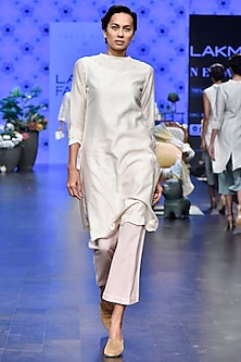 Ivory Floral Embroidered Tunic With Pink Pants by Varun Bahl