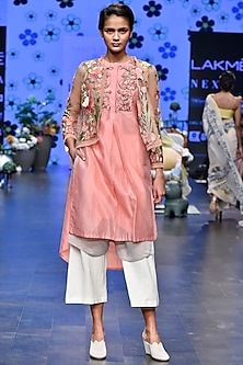 Pink Embroidered Cardigan Jacket With Layered Tunic & Duckegg Pants by Varun Bahl