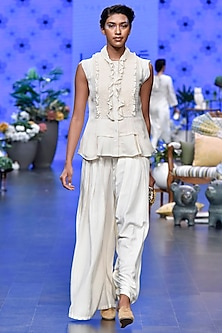 Ivory Frilled Top With Pleated Pants by Varun Bahl