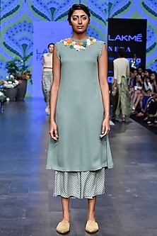 Duckegg Floral Tunic With Digital Printed Pants by Varun Bahl