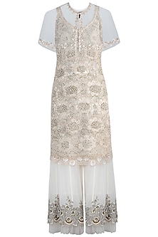 Ivory Embroidered Kurta Set With Cape by Varun Bahl
