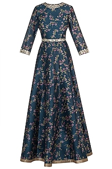 Aqua blue printed anarkali set