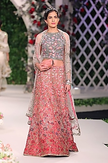 Deep Old Rose Floral Embroidered Lehenga Set