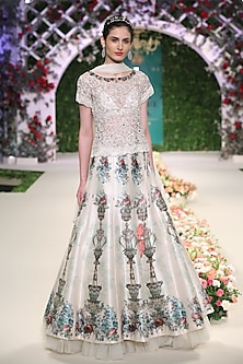 Ivory Floral Embroidered Motifs Lehenga Set by Varun Bahl