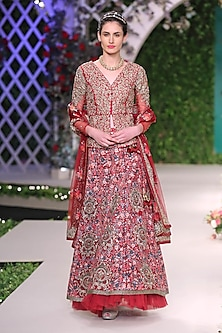 Maroon Floral Beads Embroidered Lehenga Set
