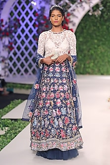 Midnight Blue Floral Thread and Beads Embroidered Lehenga Set