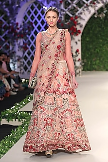 Pale Pink Floral Thread and Beads Embroidered Lehenga Set