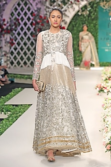Gold Floral Beads and Sequins Embroidered Gown by Varun Bahl