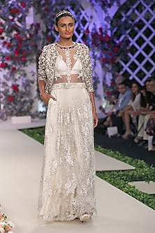 Ivory Floral Embroidered Lehenga, Blouse and Bustier Set