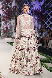 Ivory Floral Applique Work Lehenga Set