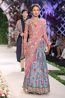 Blue Flared Embroidered Motifs Lehenga with Old Rose Blouse