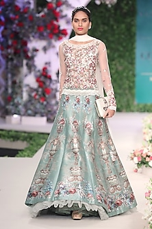 Sage Green Floral Embroidered Lehenga and Blouse Set by Varun Bahl