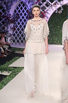 Ivory Crystal Embellished Top, Kurta and Farshi Set by Varun Bahl