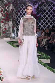 Ivory Floral Embroidered Anarkali Set by Varun Bahl