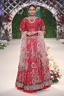 Red Beads and Sequins Floral Embroidered Motifs Lehenga Set