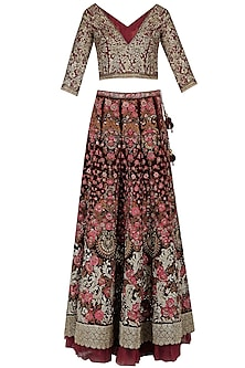 Maroon Floral Beads, Zardozi and Sequins Work Lehenga Set
