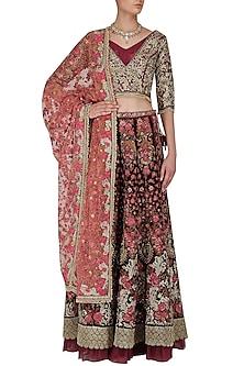 Maroon Floral Beads, Zardozi and Sequins Work Lehenga Set by Varun Bahl
