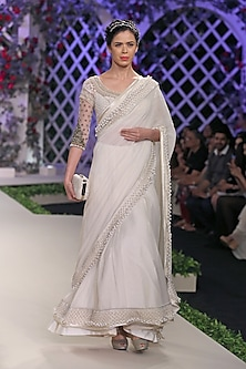 Ivory Pearl Embroidered Saree and Blouse Set by Varun Bahl