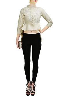 Ivory embroidered asymmetrical peplum top by Vineet Bahl