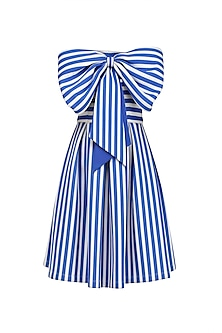 Blue and White Stripe Print Bow Tie Up Fit and Flared Dress
