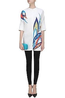 Off White Floral Applique Work Long Shirt by Vineet Bahl
