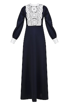 Navy Blue and Off White Applique Work Puffed Sleeves Dress