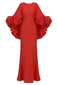 Red Ruffled Frill Detail Cape Gown by Vineet Bahl