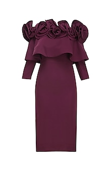 Burgundy Ruffled Frill Detail Fitted Dress