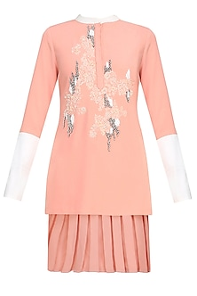 Peach Floral Thread And Beads Embroidered High Low Top by Vineet Bahl