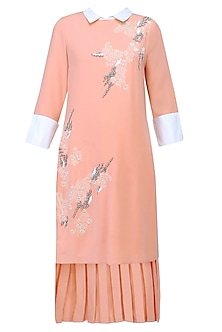 Peach Floral Thread And Beads Embroidered High Low Tunic