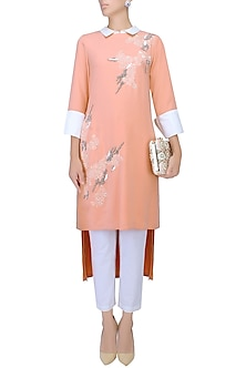 Peach Floral Thread And Beads Embroidered High Low Tunic by Vineet Bahl