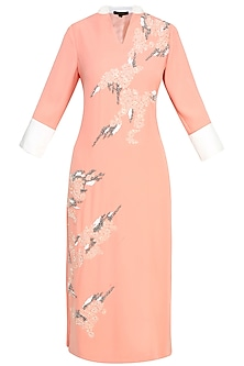 Peach Floral Thread And Beads Embroidered Kurta by Vineet Bahl