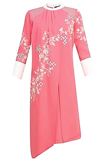 Pink Floral Embroidered Motifs Pleated Layered Tunic