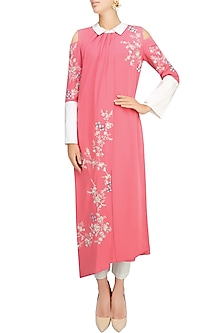 Pink Floral Embroidered Motifs Pleated Layered Kurta by Vineet Bahl