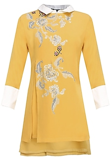 Mustard Yellow And Silver Floral Embroidered Motifs Top by Vineet Bahl