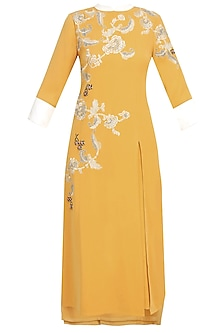 Mustard Yellow And Silver Floral Embroidered Motifs Kurta