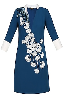 Navy Blue And Ivory Floral Embroidered High Low Tunic