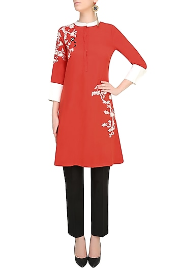 Orange Floral Beads And Thread Applique Work Tunic by Vineet Bahl