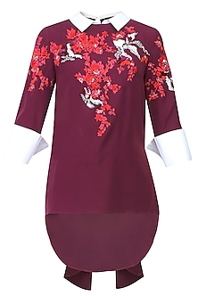 Wine, Red And White Floral Embroidered Motifs Top by Vineet Bahl