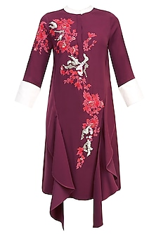 Wine, Red And White Floral Embroidered Motifs Tunic