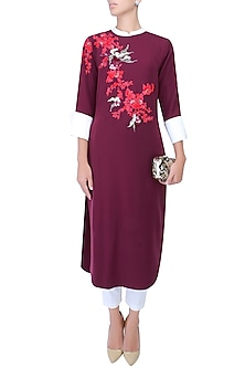 Wine, Red And White Floral Embroidered Motifs Kurta by Vineet Bahl