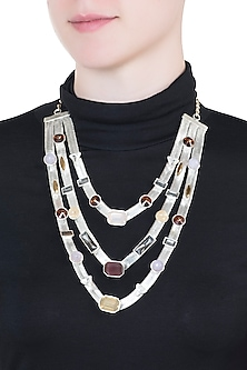 Silver plated multi colored 3 layered necklace by Valliyan by Nitya Arora