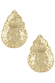 Gold plated textured drop earrings by Valliyan by Nitya Arora