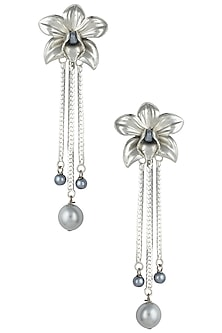 Silver plated orchid earrings by Valliyan by Nitya Arora