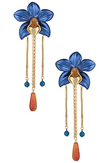 Gold plated blue orchid earrings by Valliyan by Nitya Arora