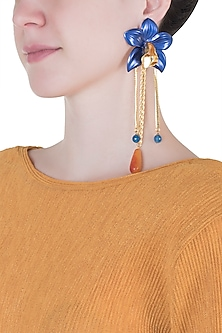 Gold plated blue orchid earrings
