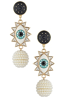 Gold plated evil eye dangler earrings by Valliyan by Nitya Arora