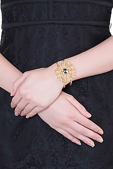 Gold plated stone floral cuff