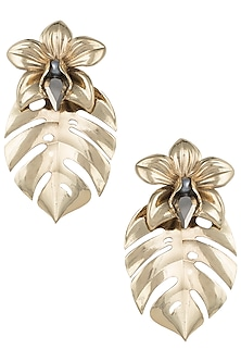 Gold plated orchid leaf earrings by Valliyan by Nitya Arora
