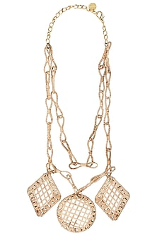 Beige dual layered cane necklace by Valliyan by Nitya Arora